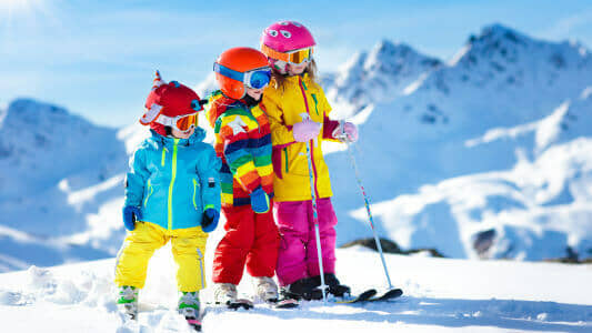 Kids ski rentals and ski equipment available at Abominable Sports, Banff, Alberta.