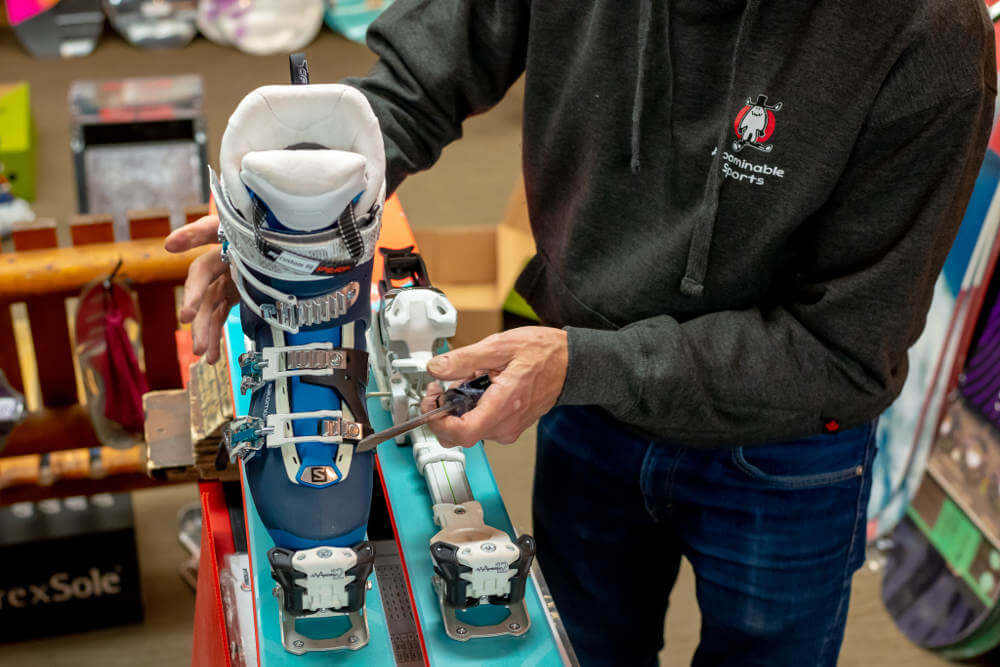 Ski Binding Installation and Adjustments at our shop in Banff, Alberta